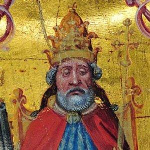 Darstellung des hl. Petrus mit Tiara, vor 1500, Detail © Archiv der Erzabtei St. Peter