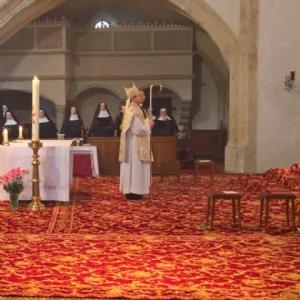 Mit Abt Nikolaus in der Stiftskirche Schlierbach