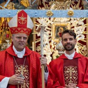 Weihbischof Florian Wörner, P. Johannes, Erzabt Korbinian © Erzabtei