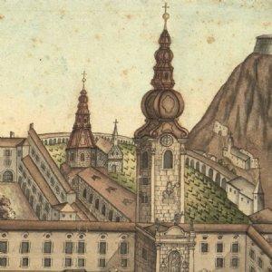 Ansicht des Klosters St. Peter, um 1800 © Archiv St. Peter