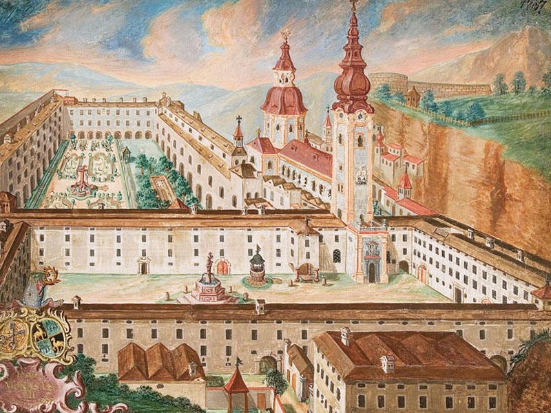 alte Ansicht des Stiftes St. Peter um 1767