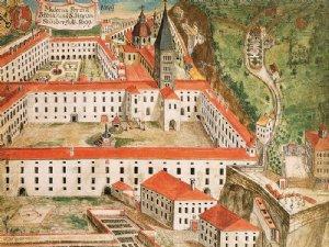 alte Ansicht des Klosters St. Peter mit romanischem Kirchturm um 1699