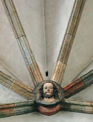 Haupt Christi, Schlussstein in der Kreuzkapelle, um 1350/55