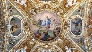 Deckenansicht in der Vesperbildkapelle, 1637/39, mit der Verklärung Jesu und den vier Kirchenvätern