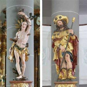 Statuen des Hl. Sebastian und hl. Rochus