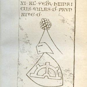 Abb. 1: Das Epitaph des Heinrich von Prunning, 1327, in der Zeichnung von Karl von Frey. © Archiv